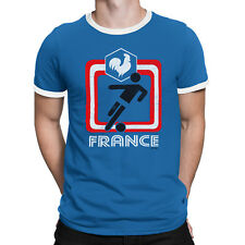 FRANCE Mens T-Shirt FOOTBALL World Cup 2018 New Retro Square