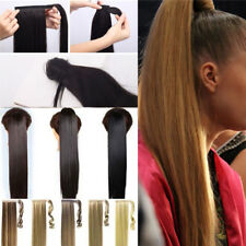 US 100% Natural Clip In Hair Extensions Pony Tail Wrap Around Ponytail Straight