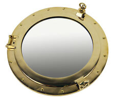 """17"""" Solid Brass Porthole Mirror Ship Nautical Wall Mount Round Gold Decor"""