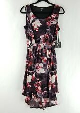 Simply Vera Wang Sleeveless Dress Cinched Waist Floral Purple XS, M, L, XL NEW