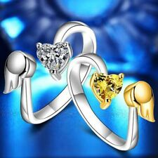 Opening Exquisite Engagement Ring Love Heart Angel Wings Adjustable Ring