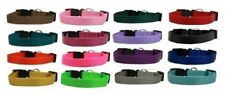 Nylon Dog Collars Durable Adjustable Snap Buckle Pick From 5 Sizes & 16 Colors