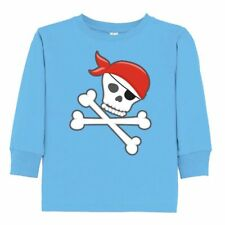 Inktastic Pirate Skull And Crossbones Toddler Long Sleeve T-Shirt Pirates Red