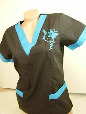 New Women Nursing Scrub Black Turquoise Embroidery Butterfly Poly/Cotton Top