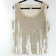 Style & Co Womens Sleeveless Blouse Top Tank Sequin Beige 100% Cotton 2X 3X NWT