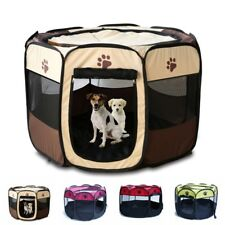 Large Pet Dog Cat Playpen Tent Mini Exercise Fence Kennel Cage Oxford Crate US