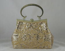 Champagne Lt Gold Beaded Sequined Designer Evening Party Handbag Purse Or Casual