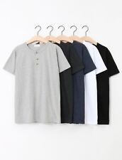 Men Henry Collar T Shirts Short Sleeve 3 Button Up Clothing Korea Fashion