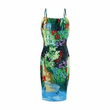 Women Floral Print Sleeveless Green Color Summer Wear Bodycon Knee Length Dress