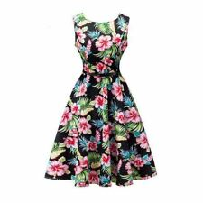Women Floral Print Sleeveless O Neck Knee-Length Tunic Party Dress