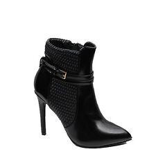 WOMENS SMART HIGH STILETTO HEEL POINTED TOE ANKLE BOOTS LADIES SHOES SIZE 3-8