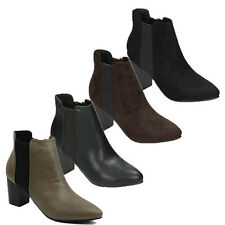 WOMENS CASUAL BLOCK HEEL CHELSEA STYLE ANKLE BOOTS BOOTIES LADIES SHOES SIZE 3-8