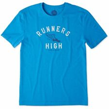 Life is Good. Mens Cool Tee: Runners High - Marina Blue
