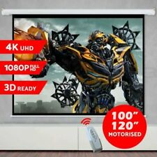 """100"""" 120"""" Inch Projector Screen Portable Electric Motorised TV Projection 3D QH"""