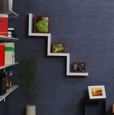 Modern Wooden W Shaped Floating Wall Mounted Shelves DVD BOOK Storage Shelf