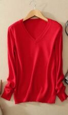 Women Red Color V-Neck Knitted Slim Fit Winter Wear Sweater