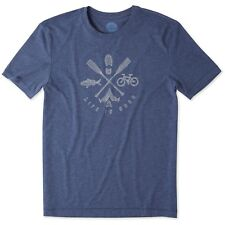 Life is Good. Mens Cool Tee: Outdoor Action - Darkest Blue