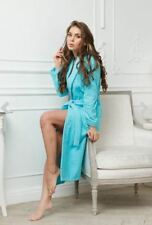 Light blue Kimono Robe Dressing Gown Bridesmaid Sleepwear Bathrobe size L XL XXL