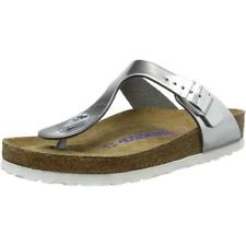 Birkenstock Gizeh SFB Metallic Silver Leather Flat Sandals