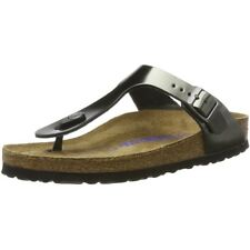 Birkenstock Gizeh SFB Metallic Anthracite Leather Flat Sandals