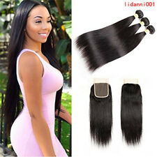 Brazilian Straight Hair 3Bundles With Closure 100% Unprocessed Virgin Human Hair