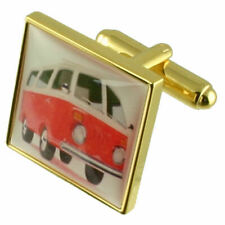 Gold Vw Campervan Novelty Cufflinks With Pouch