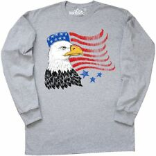 Inktastic American Bald Eagle And Flag Sketch Style Long Sleeve T-Shirt Fourth