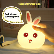 LED Night Lamp Light Colorful Bunny Animal Rechargeable USB Silicone Soft Decal