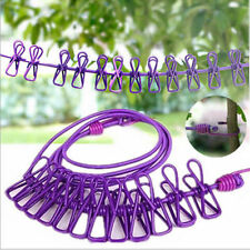 Portable 12 Clips Outdoor Travel Windproof Stretch New Clothesline Rope With