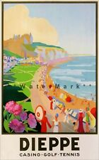 Dieppe France 1930 Casino Golf Tennis Resort Vintage Poster Print Retro Art