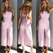 Womens Sleeveless Striped Backless Wide Leg Strappy Jumpsuit Playsuit Culotte US