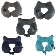 Velvet Inflatable Travel Pillow for Airplanes Car Head Support Rest with Bag
