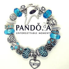 Authentic Pandora Silver Sterling Bracelet w/Euro Charms Turquoise Love Wishes