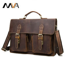 Mens Briefcase Horse Leather Handbags Office Bags Messenger Laptop Storage Bag