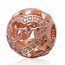 Bracelet Charm European 925 Sterling Silver Rose Gold Love & Hearts Bead Jewelry