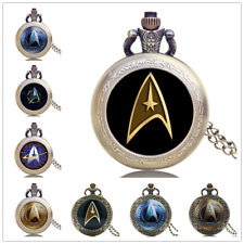 Antique Star Trek Movie Series Captain Kirk Quartz Pocket Watch Necklace Chain