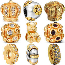 925 european sterling gold silver charms bead for bracelet chain necklace BK003