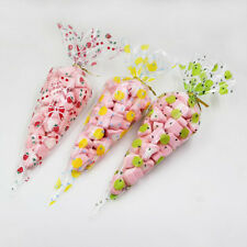 50 Pcs Clear Cellophane Cone Bags Twist Ties Party Candy Sweet Cello Candy