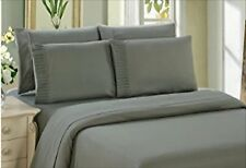 Bamboo Sheet Set 6 Piece With 4 Pillowcases Deep Pocket Soft Wrinkle Free Gray