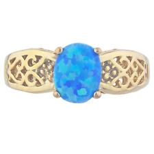 14Kt Yellow Gold Plated Blue Opal Oval Design Silver Ring