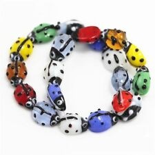 20Pcs Ladybug Lampwork Glass Spacer Beads Red 15x10mm For Jewelry Making DIY