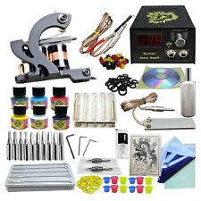 Professional Complete Tattoo Kit Machine Gun Power Supply 6 Ink Needle Maker Set