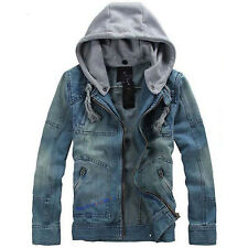Men's Denim Jacket Cowboy Jeans Coat Retro Hooded Slim Casual Outwear Oversize