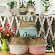 1x Seagrass Belly Storage Basket Shopping Bag Box Organizer Plant Pot Home Decor