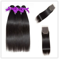 Brazilian Virgin Human Hair Weft Straight 3Bundles With 4x4 Top Lace HairClosure