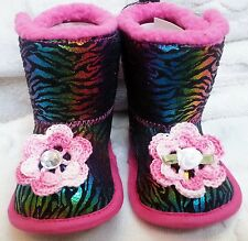 NEW PINK BLACK ZEBRA SPARKLE  BOOTS SLIPPERS GIRLS BABY INFANT 6 9 12 MONTHS