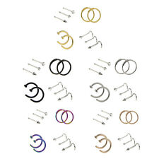 10pcs Tiny Stainless Steel Nose Studs Ring Rhinestone Hoop Piercing Jewelry