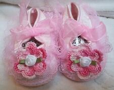 NEW PINK SATIN LACE SHOES w/ ROSE 0 3 6 9 12 MONTHS BABY INFANT NEWBORN GIRLS