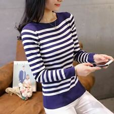 Women O-neck Full Sleeve Solid Color Striped Pattern Knitted Sweater Top