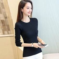 Women Knitted Fabric Winter Long Sleeve Solid Pattern Pullover Sweater
